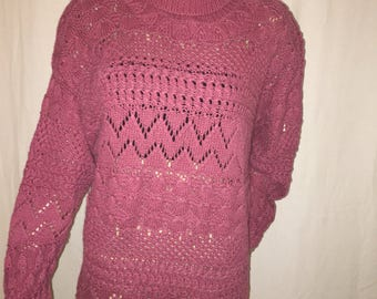 Pink 1990's Vintage Style New York 'HandKnit ' Sweater  (S)