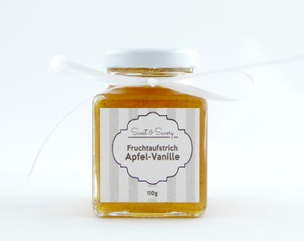 Apple vanilla jam jelly 110 g, ideal as a gift for the birthday, Easter, Christmas for him and her