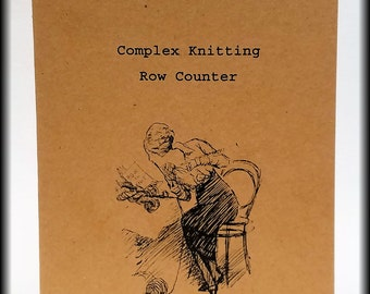 Complex Knitting Row Keeper Journal. 64 Pages. 8.25 x 5 inches. 40 Cover Color Choices. Keep track of complex row projects.