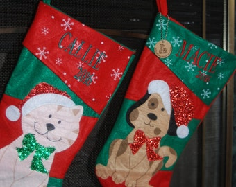 Custom Embroidery Pet stocking, personalized pet Christmas stocking, cat name stockings, dog name stockings, pet gifts, pet lover gift