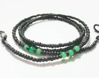 Black with Teal Beaded Eyeglasses chain