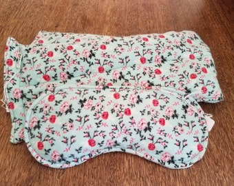 Rice Bag Set Hot Cold Therapy Green with Pink Floral