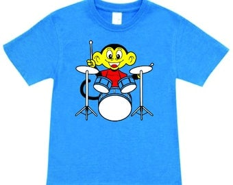 Kids Tshirt, monkey drum shirt, child drumming shirt