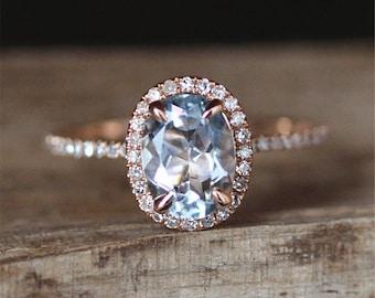 VS 6*8mm Oval Cut Aquamarine Ring Stackable Ring 14K Rose Gold Ring Aquamarine Engagement Ring Gemstone Ring March Birthstone Ring