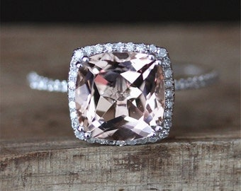 3ct Morganite Engagement Ring VS 9mm Cushion Cut Morganite Ring Gmes Ring 14K White Gold Ring Half Eternity Diamonds Ring Anniversary Ring