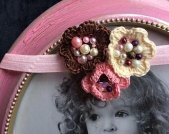 Pink headband, Baby headband, infant headband, newborn headband, photo prop, pink satin flower on pink lace headband
