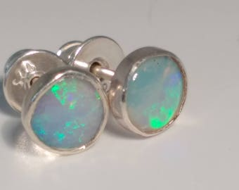 Intense green opal earstuds