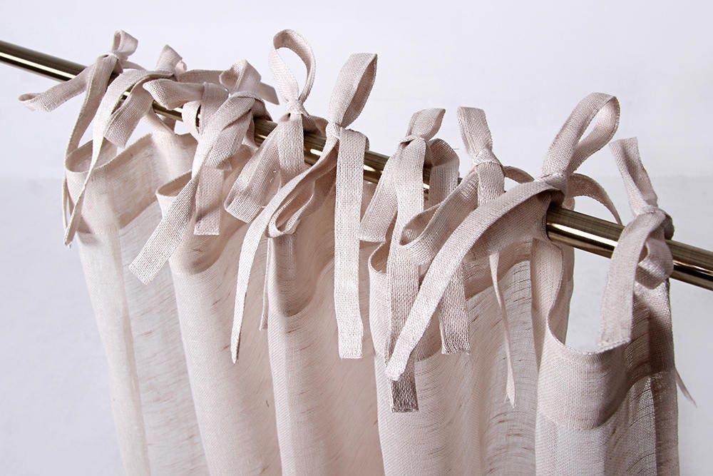 Tie Top Linen Curtain Sheer Curtain Panel Custom Linen