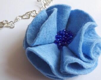 blue brooch, fabric flower brooch, felt flower, prom flower, teacher present, flower corsage, blue flower pin, blue accessories, felt brooch