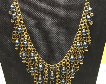 Blue beaded gold chain Statement necklace