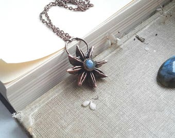 Cabochon necklace pendant copper labradorit galvanized coated star anise star anise plated electroformed amethyst Moonstone, labradorite
