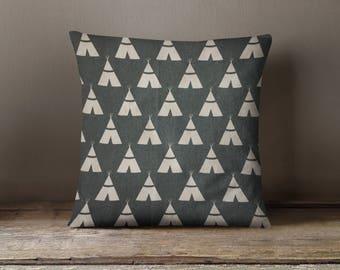 Navy Tee Pee Pillow Cover, Woodland Nursery Decor, Navy Throw Pillow, Room Decor, Navy and White Tee Pee Pillow, Woodland Accent Pillow