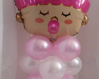 """Birth/Baby Shower Balloon Table Decoration in Pink orBlue AIR ONLY Easy DIY 22"""" Tall"""