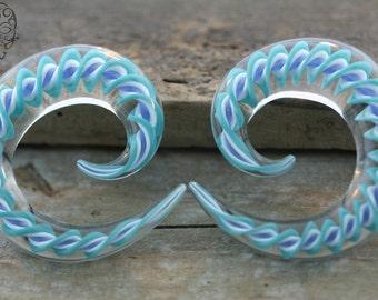00g Blue And White Striped Spirals