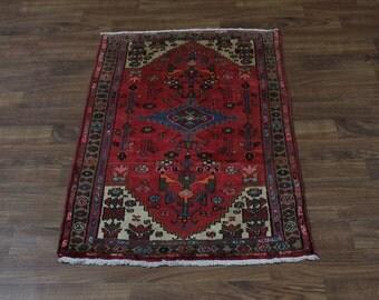 Great Semi Antique Hand Knotted Hamedan Persian Rug Oriental Area Carpet 3'5X5'