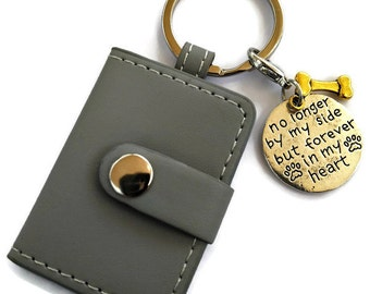 "Pet memorial photograph key chain ""no longer by my side but forever in my heart"" keyring. Rainbow bridge dog sympathy, loss remembrance gift"