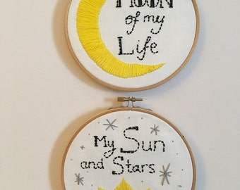 2 6 inch embroidery hoops/ moon of my life/ my sun and stars