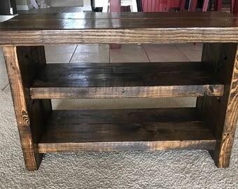 Rustic shoe bench