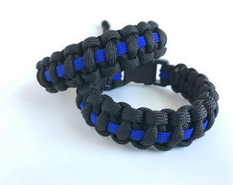 Blue Line-Paracord Bracelet Law Enforcement support buckle or adjustable closure