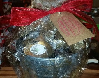 All natural, organic pumpkin bath and body gift basket in a reusable steel bucket