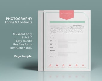 Complete printable business photography forms and contracts templates for MS Word, 10 photography forms contracts, instant downloads, PCF019