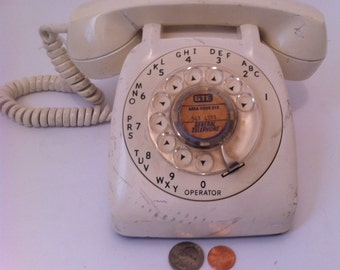 Vintage White Rotary Dial Phone, Telephone, Scuffed Up Vintage White Phone, Needs a Good Scrubbing, Old Vintage Rotary Dial Phone, White