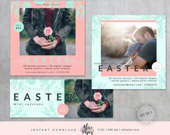 Easter Mini Sessions Template, Easter Mini Session, Easter Marketing Board, Easter Template, Photography Marketing, Spring, Marketing SET