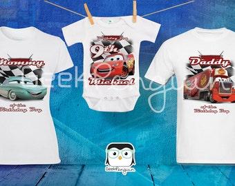 Cars birthday shirt, Lightning McQueen Birthday T shirt, Cars Family Birthday Shirts Custom personalized, Cars Movie