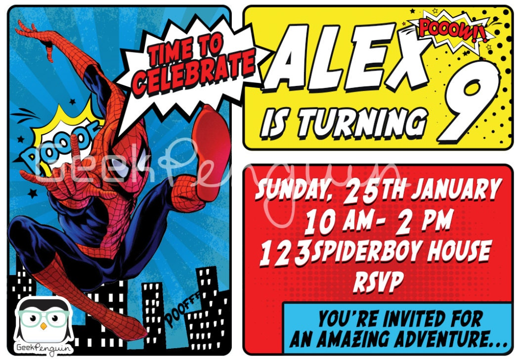Spiderman Birthday Invitation, Spiderman Party, Spider Man Invite ...