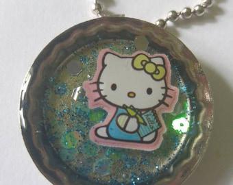 Hello Kitty Resin Bottle Cap Necklace