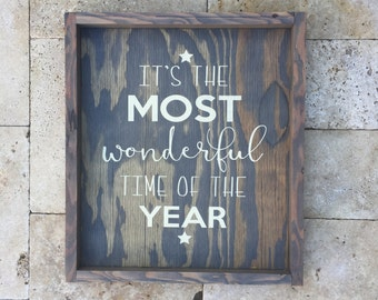 Wood Sign It's the most wonderful time of the year Christmas Holiday 14x16 plus frame Gray Stain