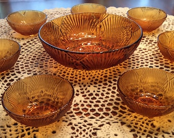 ON SALE:  Vintage Brazilian Amber Glass Bowl with Seven Small Serving Bowls