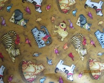Cat, Dog and bird Patchwork fabric