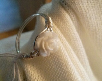 Women's Rose Ring/ Wire Wrapped/ Mother of Pearl/ Debra's Design Studio/One of a Kind/ Sterling Silver Wire