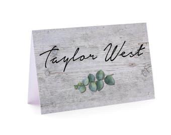 Greenery wedding place card, eucalyptus wedding place card, natural, greenery, wood, vintage, garden, boho, rustic, table card  (Peyton)