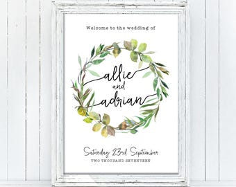Printable Wedding Welcome Sign, Botanic, Botanical Wedding Sign, DIY Wedding Sign, Wreath, Reception, Simple, Greenery, Script (Eternal)
