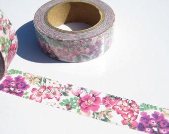 Pink Purple Floral Washi Tape, Pretty Flowers  Planner Washi Masking Decorative Tape.