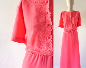 vintage 1980s dress・pink・floral cutouts・FREE SHIPPING