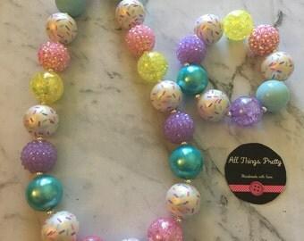 Sprinkles Bubblegum Bead Necklace & Bracelet set