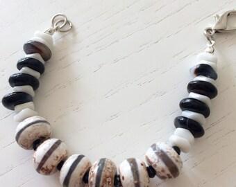 Black White beige bracelet