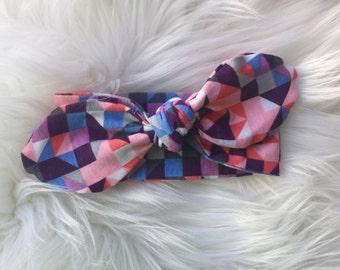 Quilted Diamonds Knit Tie Headband/Knot Tie headband/ Geometric Headband/Baby Headband