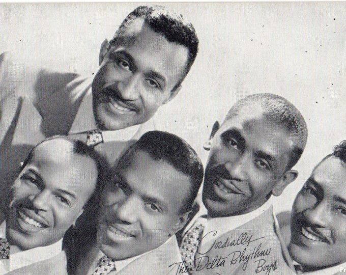 Vintage 1960's The Delta Rhythm Boys Black & White Portrait Photo Arcade Card