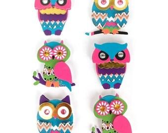 6 Stickers OWL - owls - owls - 3D OWL Stickers Stickers stickers - 3-d Relief Scrap