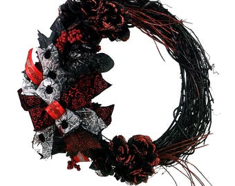 Halloween  Rose Wreath - Halloween Spider Wreath - Black and Red Halloween Grapevine Wreath - Holiday Wreath