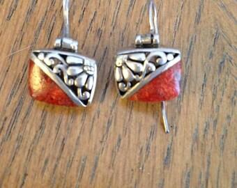 Silver Orange Agate Earrings