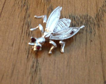 Sterling Silver Garnet Horse Fly Pin