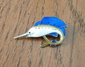 Sterling Silver Enamel Swordfish Pin