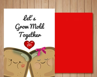 Cute I Love You Card, Let's Grow Mold Together!,  Greeting Card, Love, Bread, Hearts, I Love You, Blank Card