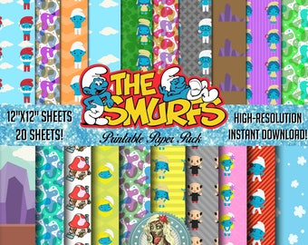Smurfs, Smurfette, Smurf, Smurfs Digital Paper Pack, Smurfs Party, Smurf Birthday, Smurf Invitation, Scrapbook Paper, Scrapbook Pages, Insan
