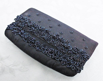 Vintage Soure' Black Beaded Evening Bag